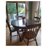 #22 - Dark stained double pedestal Table with 2 leaf