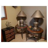 Round Glass and Wood End Tables and Lamps