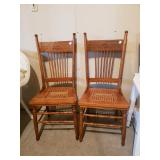 2 Wood and cane chairs
