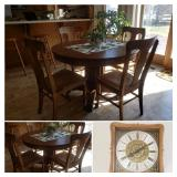 Round Oak Antique Pedestal Table with 4 chairs, Chime Clock