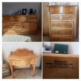 Honey Oak chest of drawers, Long dressder, matching night stand