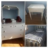 Matchingique Metal Dresser, 3/4 Bed with head board and foot board Ant