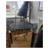 """Metal Patio setwith a 42"""" Round top and Umbrella and 4 chairsBlack"""