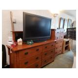 """Mission Mirrored Dresser orTv Staon the base Mirror is seperate -nd, 34"""" T, 56"""" L, 19"""" Deep"""