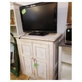 """White Antiqued Cabinet - 38 1/2 """" Tall, 35""""L, 21"""" D, this is great starage and and awesome TV Stand,"""