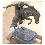 "Large Bronze on Marble ""Bronco Buster"" Signed Fredrick Remington"