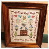 Early American Needle Point Sampler in Frame Artwork