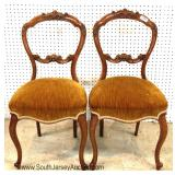 PAIR of Walnut Carved Victorian Gold Upholstered Seat Music Chairs
