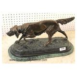 """Bronze Hunting Dog Sculpture on Marble Base signed """"J. Moigniez"""""""