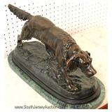 "Bronze Hunting Dog Sculpture on Marble Base signed ""J. Moigniez"""
