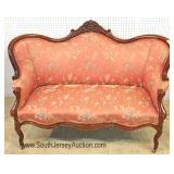 ANTIQUE Walnut Carved Victorian Settee