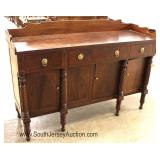 – Nice Model —  ANTIQUE Burl Mahogany Empire Buffet with Gallery and Original Finish  Circa. 1840-1