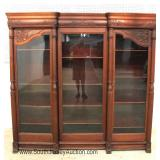 ANTIQUE Solid Mahogany Griffin Carved 3 Door Bookcase in Original Finish