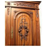 ANTIQUE French Mahogany 3 Part Stepback Cupboard with Carved Flower Baskets and Ornate Top