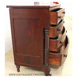 ANTIQUE Burl Mahogany Empire Paw Foot Chest with Carved Columns