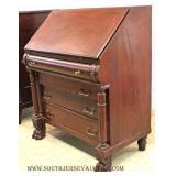 ANTIQUE Slant Front  Mahogany Desk with Paw Feet