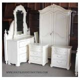 6 Piece CONTEMPORARY Bedroom Set in White Finish