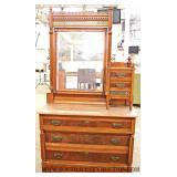 ANTIQUE 3 Piece Victorian Marble Top Bedroom Set