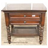 Victorian Style Mahogany 2 Drawer End Table