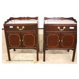 """PAIR of Solid Mahogany 1 Drawer 2 Door Night Stands with Custom Glass Tops by """"Drexel"""""""