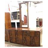 3 Piece Mid Century Modern Walnut Bedroom Set in Brutalist Mosaic Style Pattern