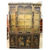 "Asian Decorated 3 Door China Closet by ""Drexel"""