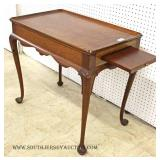 Solid Mahogany Queen Anne Tea Table with Pull Out Trays