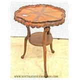 Mahogany Scalloped Top 2 Tier Lamp Table