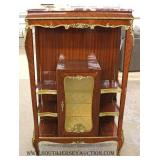 French Style Marble Top Etagere Curio with Applied Bronze