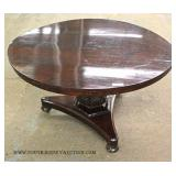 ANTIQUE Burl Mahogany Breakfast Table with Carved Pedestal