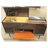 VINTAGE Burl Lacquer Mahogany Finish Console Radio with Record Player