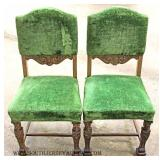 """""""Set of 6"""" ANTIQUE Oak Carved Figural Dining Room Chairs"""
