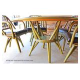 VINTAGE Rattan 5 Piece Table and 4 Chairs