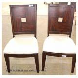 5 Piece CONTEMPORARY Dining Room Table with Crackle Glass Inserts in Mahogany Finish