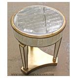 Hollywood Style Round Mirrored Lamp Table