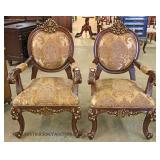 PAIR of CONTEMPORARY Highly Ornate Medallion Back Arm Chairs
