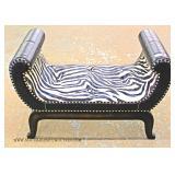 Decorator Zebra Covered Leather Bench