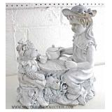 Porcelain Figure of Girl and Bear Tea Party