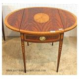 """Beautiful Burl Mahogany Inlaid and Banded Tapered Leg 1 Drawer Pembroke Table by """"Councill Furniture"""