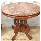 ANTIQUE Oval Marble Top with Tennessee Brown Marble Table