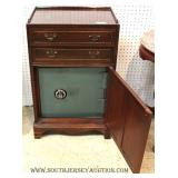 Vintage Solid Mahogany 2 Drawer Bedside Stand with Original Safe Base with Combination