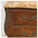 ANTIQUE French 3 Drawer Marble Top Commode with Applied Bronze and Key