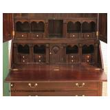 BEAUTIFUL Solid Mahogany 2 Piece Secretary Bookcase with Elaborate Interior and Bracket Feet
