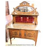 ANTIQUE Marble Top Wash Stand with Original English Tiles, Backsplash, and Mirror