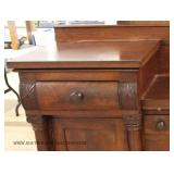 ANTIQUE EMPIRE Mahogany Step Center Buffet with Pull Out Tray