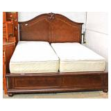 Mahogany Banded King Size Bed with Pillow Top Mattress