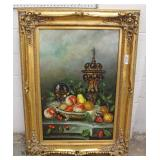 Signed Oil on Canvas in Carved Frame Still Life