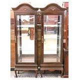 Match PAIR of Mirror Back Queen Ann One Door Curio Cabinets