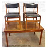5 Piece Danish Walnut Mid Century Table and 4 Chairs with Refectory Leaves