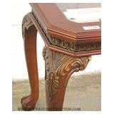 Carved Contemporary Ball and Claw Glass Top Sofa Table